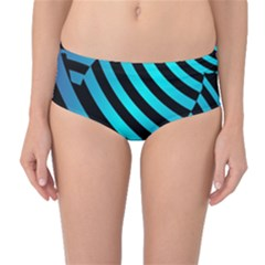 Turtle Swimming Black Blue Sea Mid-Waist Bikini Bottoms