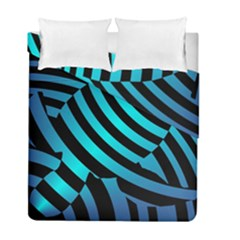 Turtle Swimming Black Blue Sea Duvet Cover Double Side (Full/ Double Size)