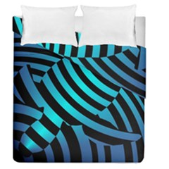 Turtle Swimming Black Blue Sea Duvet Cover Double Side (Queen Size)