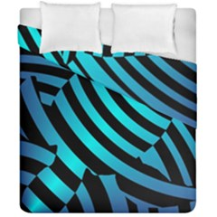 Turtle Swimming Black Blue Sea Duvet Cover Double Side (California King Size)