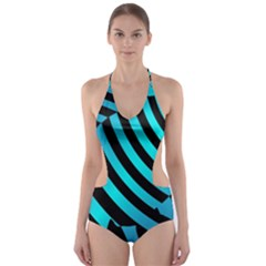 Turtle Swimming Black Blue Sea Cut-Out One Piece Swimsuit
