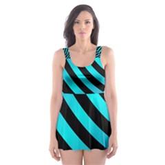 Turtle Swimming Black Blue Sea Skater Dress Swimsuit