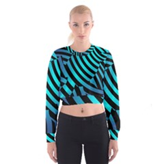Turtle Swimming Black Blue Sea Women s Cropped Sweatshirt