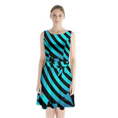 Turtle Swimming Black Blue Sea Sleeveless Chiffon Waist Tie Dress