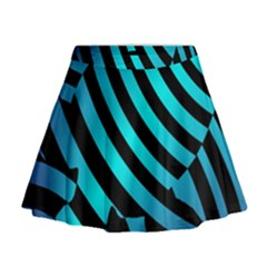 Turtle Swimming Black Blue Sea Mini Flare Skirt