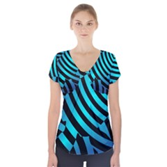Turtle Swimming Black Blue Sea Short Sleeve Front Detail Top