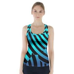 Turtle Swimming Black Blue Sea Racer Back Sports Top