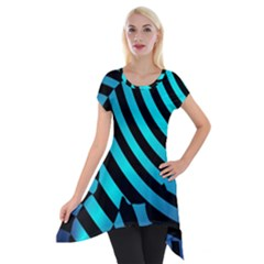Turtle Swimming Black Blue Sea Short Sleeve Side Drop Tunic