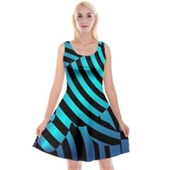 Turtle Swimming Black Blue Sea Reversible Velvet Sleeveless Dress