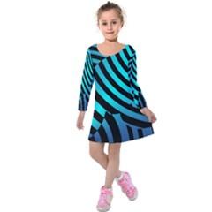 Turtle Swimming Black Blue Sea Kids  Long Sleeve Velvet Dress