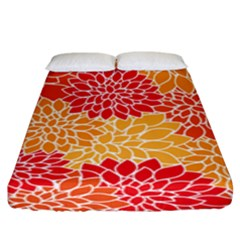 Vintage Floral Flower Red Orange Yellow Fitted Sheet (king Size)