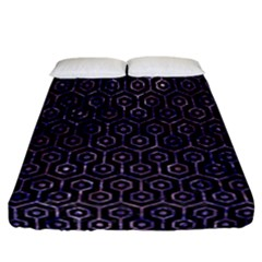 Hexagon1 Black Marble & Purple Marble Fitted Sheet (california King Size)