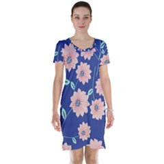 Seamless Blue Floral Short Sleeve Nightdress