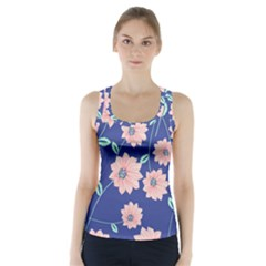 Seamless Blue Floral Racer Back Sports Top
