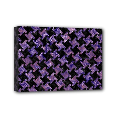 Houndstooth2 Black Marble & Purple Marble Mini Canvas 7  X 5  (stretched)