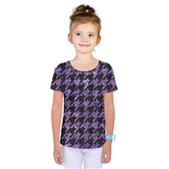 Houndstooth1 Black Marble & Purple Marble Kids  One Piece Tee