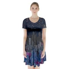 starring Short Sleeve V-neck Flare Dress