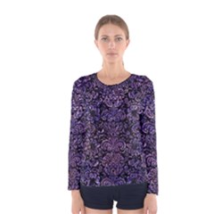 Damask2 Black Marble & Purple Marble Women s Long Sleeve Tee