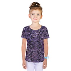 Damask2 Black Marble & Purple Marble Kids  One Piece Tee