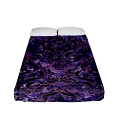 Damask1 Black Marble & Purple Marble (r) Fitted Sheet (full/ Double Size)