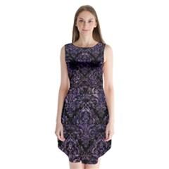 Damask1 Black Marble & Purple Marble Sleeveless Chiffon Dress