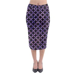 Circles3 Black Marble & Purple Marble Midi Pencil Skirt