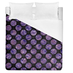 Circles2 Black Marble & Purple Marble Duvet Cover (queen Size)