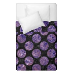 Circles2 Black Marble & Purple Marble Duvet Cover Double Side (single Size)
