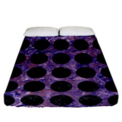 Circles1 Black Marble & Purple Marble (r) Fitted Sheet (queen Size)
