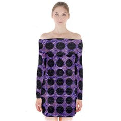 Circles1 Black Marble & Purple Marble (r) Long Sleeve Off Shoulder Dress