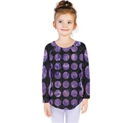 Circles1 Black Marble & Purple Marble Kids  Long Sleeve Tee