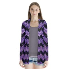 Chevron9 Black Marble & Purple Marble (r) Drape Collar Cardigan
