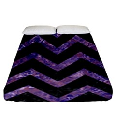 Chevron9 Black Marble & Purple Marble Fitted Sheet (king Size)