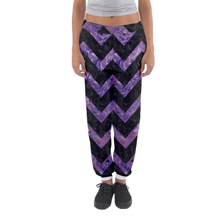 CHEVRON9 BLACK MARBLE & PURPLE MARBLE Women s Jogger Sweatpants