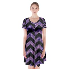Chevron2 Black Marble & Purple Marble Short Sleeve V Neck Flare Dress