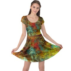 Mixed Abstract Cap Sleeve Dresses