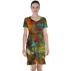 Mixed Abstract Short Sleeve Nightdress