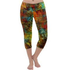 Mixed Abstract Capri Yoga Leggings