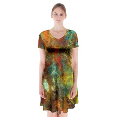 Mixed Abstract Short Sleeve V Neck Flare Dress