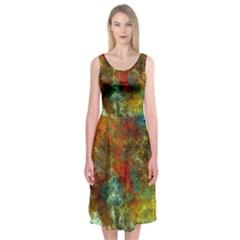 Mixed Abstract Midi Sleeveless Dress