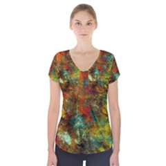Mixed Abstract Short Sleeve Front Detail Top