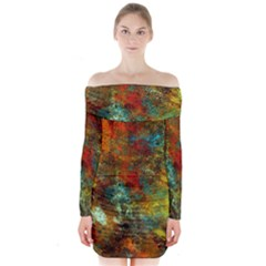 Mixed Abstract Long Sleeve Off Shoulder Dress
