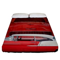 Classic Car Chevy Bel Air Dodge Red White Vintage Photography Fitted Sheet (california King Size)