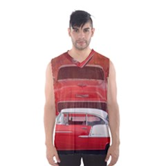 Classic Car Chevy Bel Air Dodge Red White Vintage Photography Men s Basketball Tank Top