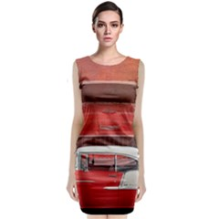 Classic Car Chevy Bel Air Dodge Red White Vintage Photography Classic Sleeveless Midi Dress