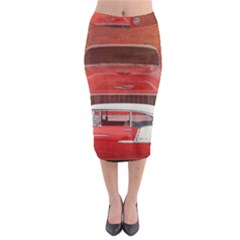 Classic Car Chevy Bel Air Dodge Red White Vintage Photography Midi Pencil Skirt