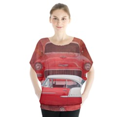 Classic Car Chevy Bel Air Dodge Red White Vintage Photography Blouse