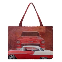 Classic Car Chevy Bel Air Dodge Red White Vintage Photography Medium Tote Bag