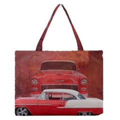 Classic Car Chevy Bel Air Dodge Red White Vintage Photography Medium Zipper Tote Bag