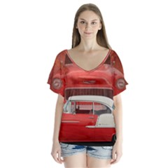 Classic Car Chevy Bel Air Dodge Red White Vintage Photography Flutter Sleeve Top